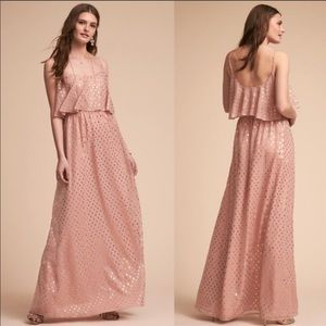 Anthropologie BHLDN blush with gold foil maxi